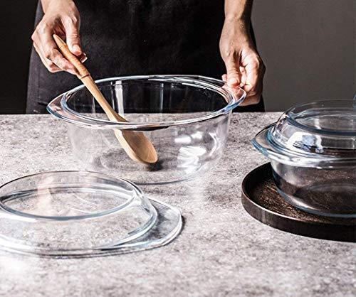 WENHAO Ljw cuenco cerámico cuenco transparente vidrio tazón casero creativo o occidental calor espesado microondas horno binaural ensalada de tazón de ensalada con tapa|Código de productos básicos:LJW
