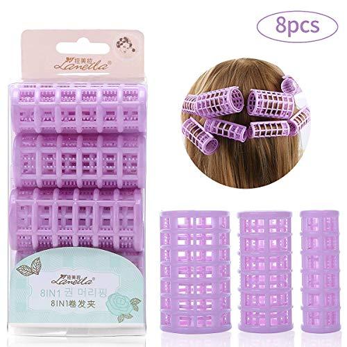 Bigodini per capelli 8 in 1, in plastica multidimensione, con clip autoaderenti, per acconciature fai da te o parrucchiere, bigodino grande, medio, pi