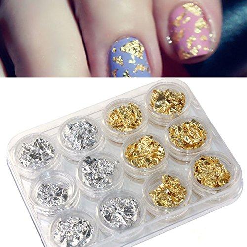 12 Kartons Zweifarbiges Chrompigment DIY Nail Art Nagel Make-up Glänzend glänzendes Pulver Modekosmetik Creative Nagel Dekoration(12cps Goldfolie Silberfolie Nailart Lieferungen)