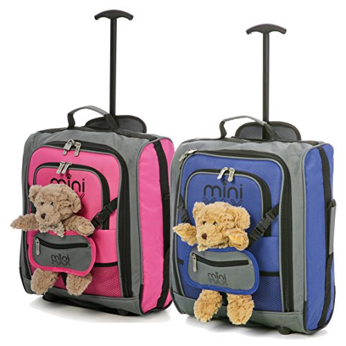 MiniMAX Childrens/Kids Luggage Carry On Trolley Suitcase with Backpack and Pouch for Your Favourite Doll/Action Figure/Bear (Pink + Teddy/Blue + Teddy)