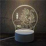 Luz Nocturna ,Lámpara De Ilusión Óptica Led 3D Con Placas Acrílicas De Patrones,Lámpara De Visualización Creativa Usb Regalo Para Niños,Cabeza Trenzada