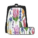 SDBUYW-ZQ Sac à dos scolaire ,Fleurs Aquarelle Botanique Sur Plumeria Protea UnSacs à livres pour...