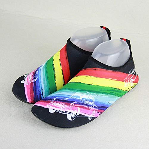 Droog sporten Aqua schoenen, mannen en vrouwen duiken snorkelen schoenen, kinderen waden strand sokken-volwassen regenboog car_34-35 binnen 20 cm lang, Unisex zwemmen wandelen Yoga Lake Beach