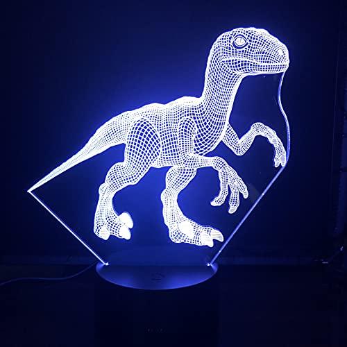 Lampara LED Dinosaurio Velociraptor Cambia Color USB Luz nocturna y decoración