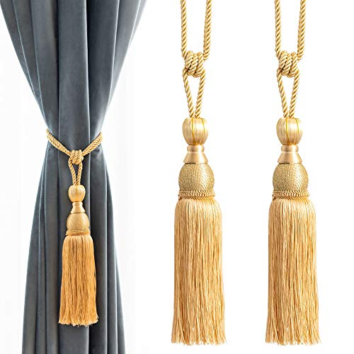 Melodieux Decorative Curtain Tiebacks Ball Tassels Holdbacks - Home Office Windows Drapery Fasteners Braided Buckle Fringe Ropes, Set of 2 (Gold)