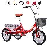 Bicicleta de 3 Ruedas Triciclo Plegable para Adultos Bicicletas cómodas de 16 '' la Canasta con Verduras Puede soportar 150 kg Adecuada para una Altura de 140-170 cm Triciclo de Movilidad Humana