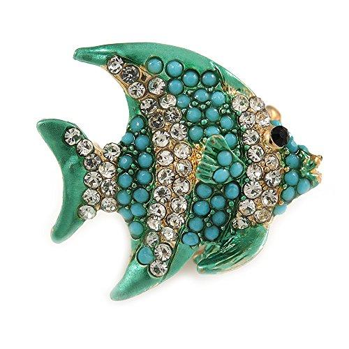 Preisvergleich Produktbild Unbekannt Avalaya Fisch-Brosche aus Metall,  klein,  Blaugrün,  transparent