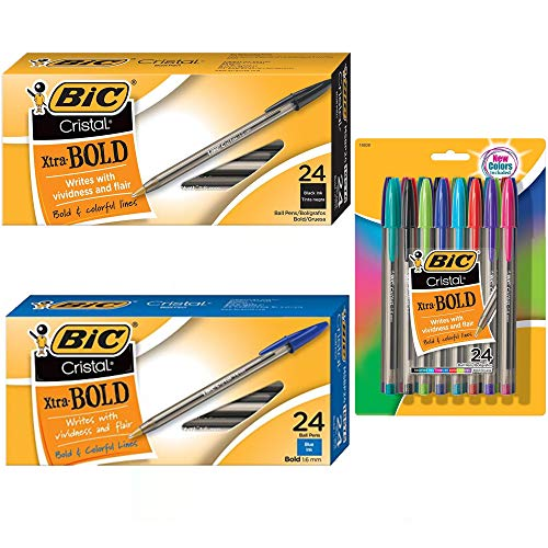 Bic Cristal Xtra Bold Stick Ballpoint Pens Combo Set: Set Includes 72 Pens ( Assorted Fashion Colors: Black, Blue, Green, Red, Purple, Light Blue, Lime Green)