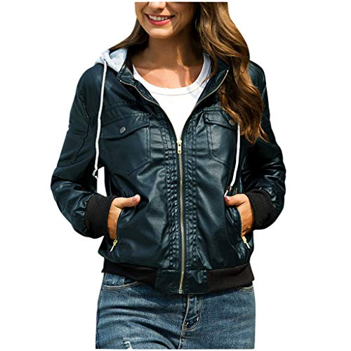 GOKOMO Damen Jacke Kapuze Abnehmbarer Reißverschluss Kurze Lederjacke Top BraunFrauen nehmen Lederjacke-entfernbare Reißverschluss-Kappen mit Kapuze warme Kurze Mäntel Outwear ab(B,XXX-Large)