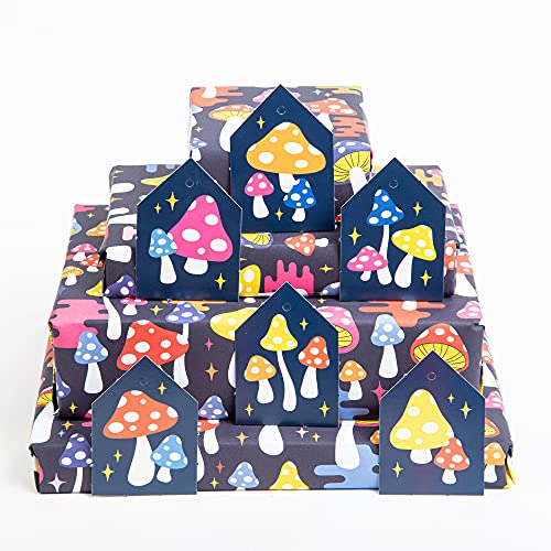 Central 23 - Navy Wrapping Paper - Colourful Mushrooms - 6 Gift Wrap Sheets - For Men Women Kids - Eco Friendly - Recyclable