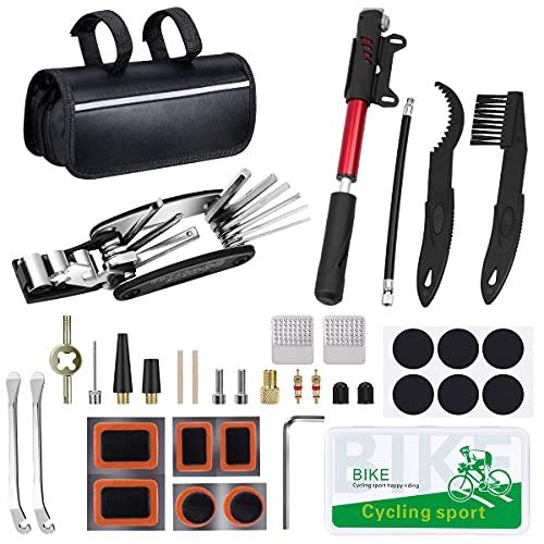 Fahrrad-Multitool, 16 in 1 Fahrrad Reparatur Werkzeug Set mit Mini Fahrradpumpe, Reifenschlauchflicken, Reifenhebel, Kleiner Schraubenschlüssel,Metallreifenraspel,Tasche mit reflektierendem Streifen
