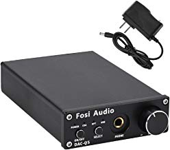 DAC Converter 24-bit/192kHz Optical/Coaxial/USB Digital-to-Analog Adapter Decoder & Headphone Amplifier & Mini Stereo Pre-Amplifier - Fosi Audio Q5 (Black)
