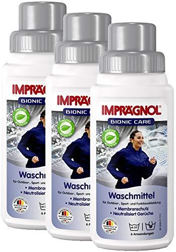 Imprägnol Bionic Care Waschmittel 3 x 250ml: Sauberkeit & Wäscheschutz für jede Wetterlage - idealer Kleidungsschutz für Outdoor,- Sport- und Funktionskleidung, PFC-frei