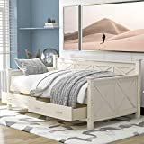 Twin Size Daybed with Drawers, Wood Twin Bed Frame with Storage Drawers, No Box Spring Needed (Cream (with Drawers))