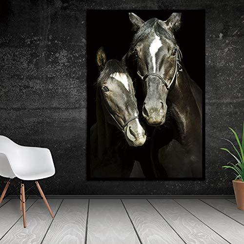 hetingyue Frameloze canvas muur HD Decoratieve dier paarden foto's gedrukt canvas muurkunst woonkamer