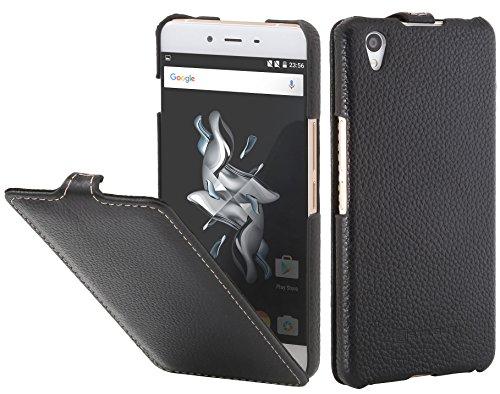 StilGut UltraSlim Case, Tasche aus Leder für OnePlus X, Schwarz