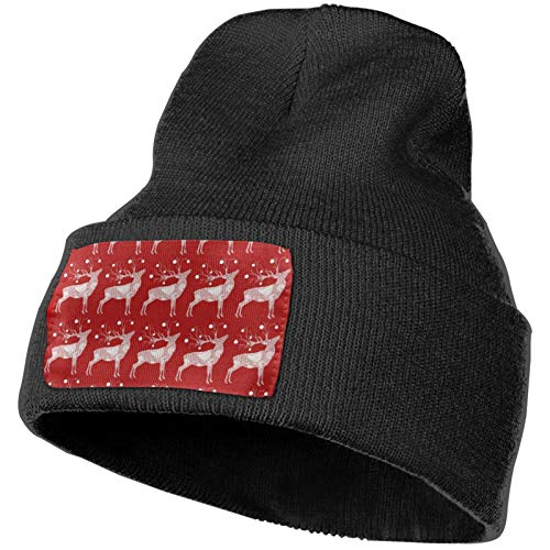 VernonGO Christmas Reindeer Winter Beanie Hat Unisex Beanie Cap Stylish Cable Knit Black
