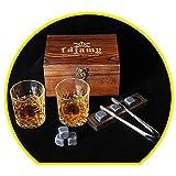 Whiskey Glass2 Piece Set - Whiskey Stone GiftSet- Whisky Chilling StonesWooden gift boxMan's gift Scotch Glass