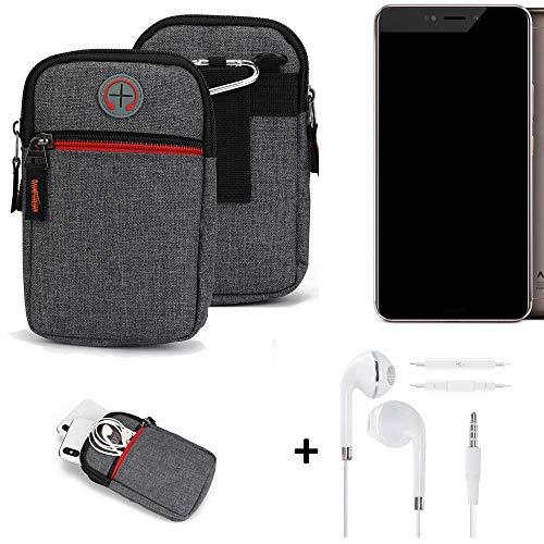 K-S-Trade® Gürtel-Tasche + Kopfhörer Für Allview X4 Xtreme Handy-Tasche Holster Schutz-hülle Grau Zusatzfächer 1x