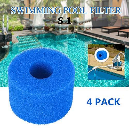 SK-LBB Spa - Filtro para piscina Intex tipo S1, reutilizable/lavable, esponja filtrante para Spa Intex Pure Spa tipo S1 (4 unidades)