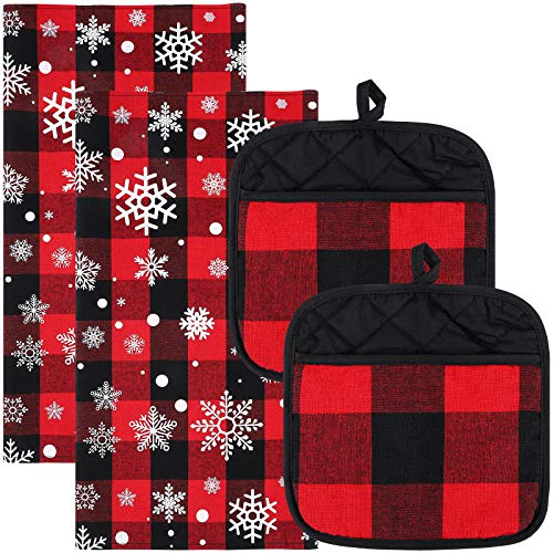 Aneco 4 Pack Christmas Snowflake Plaid Dish Towels Pot Holders Oversized 18 x 28 Inches Cotton Kitchen Dish Towels Fast Drying Cotton Tea Towels Checked Plaid Gift Set