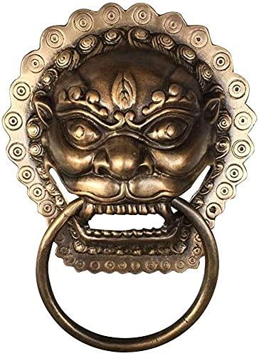 HAOJON Llamador de puerta con forma de anillo, cobre pulido antiguo, cabeza de león de estilo chino, ideal para muebles de hotel, puerta frontal, color negro, 19 x 25 cm