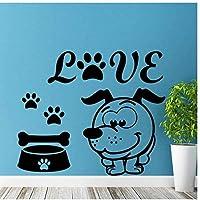 UYEDSRウォールステッカー彼の足跡とかわいい素敵なペットの犬の壁紙アートデザインのウォールステッカーホームキッズベッドルーム特別な装飾57x69cm