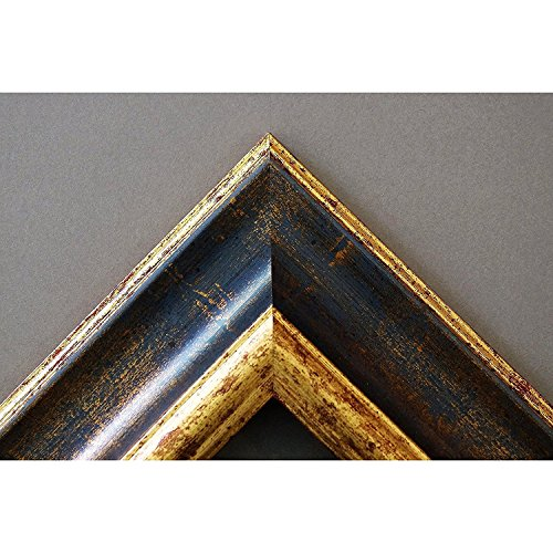 Artecentro Marco dorado para cuadros – Oro/Color con o sin paspartú de madera – Varios tamaños (dorado/azul, 40 x 60)