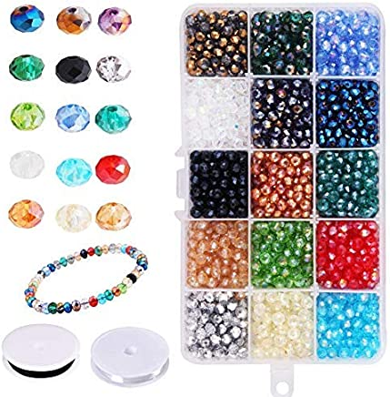 Candygirl Glass Beads for Jewelry Making Faceted Straight Hole Shape 1500Pcs 6mm Multicolor AB Color Crystal Spacer Beads for Bracelets Necklaces with Storage Box (Color Crystal)