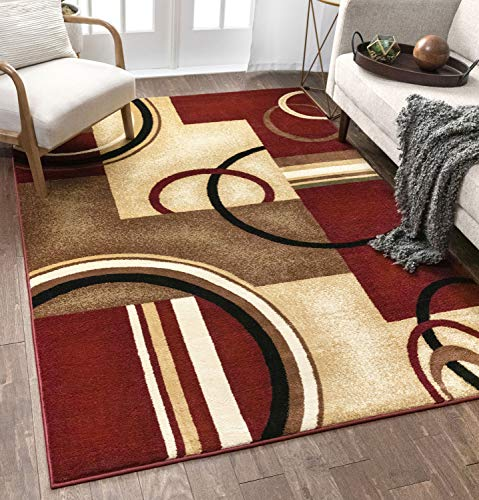 Well Woven Deco Rings Red Geometric Modern Casual 4 Round 160 x 220 cm Area Rug Easy to Clean Stain/Fade Resistant Shed Free Abstract Contemporary colour Block Boxes Lines Soft Living Dining Room Rug