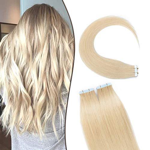 SEGO Extension Biadesivo Capelli Veri Adesive 20 Ciocche Biadesive Evolution Tape Extensions con Naturalezza 60g/Confezione Remy Human Hair (50cm, 613 Biondo Chiaro)