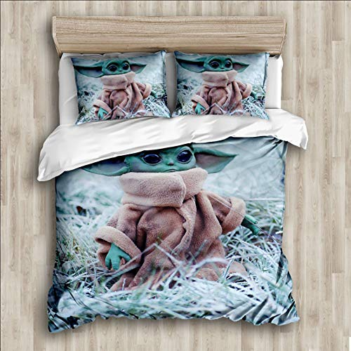 The Mandalorian Baby Yoda Duvet Cover Set Queen Size,3D Star Wars Comforter Cover, Soft Breathable Durable Microfiber Bedding Set ,Best Gift for Kids Teens 3Pcs(1 Duvet Cover and 2Pillowcases)