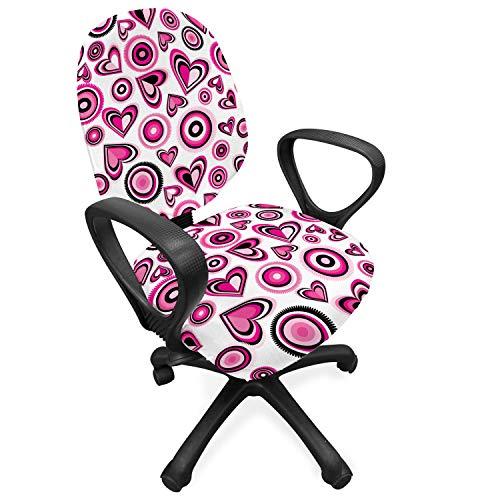 ABAKUHAUS Liefde Hoes voor Bureaustoel, Roze Harten en Cirkels, Decoratieve en Beschermende Hoes van Stretchstof, Roze Zwart Wit
