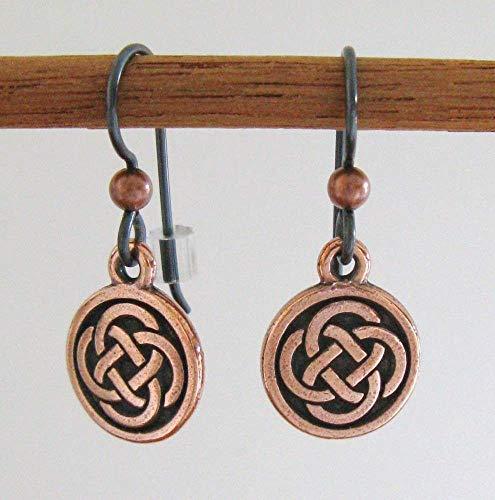 Copper Pewter Celtic Knot Earrings - Hypoallergenic Niobium Earwires