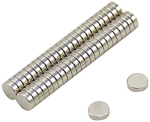 First4magnets F0502-N35-50 5mm Durchmesser x 2mm dicker N35 Neodym-Magnet-0,51kg Anziehungskraft (50 St-Packung), dia thick, Stück