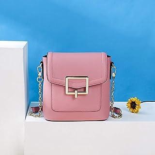 Leather Shoulder Handbags, Spill-resistant Bucket Messenger Bag, Leather Handbags Hijab 19.5CM * 10CM * 20CM. jszzz (Color : Pink)