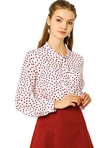Allegra K Blusa Vintage De Lunares con Botones Camisa Corbata Mangas Largas para Mujeres Blanco M
