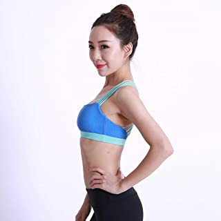 ZYDP Women's Strappy Sports Bra Yoga Tops Activewear Workout Clothes for Women (Color : Blue, Size : L)