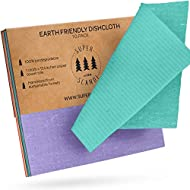Swedish Dishcloths Eco Friendly Reusable Sustainable Biodegradable Cellulose Sponge Cleaning Cloths for Kitchen Dish Rags Washing Wipes Paper Towel Replacement Washcloths (10 Pack Assorted Colors)