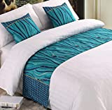 Mengersi Rippling Bed Runner Scarf Protector Slipcover Bed Decorative Scarf for Bedroom Hotel Wedding Room (King, C)