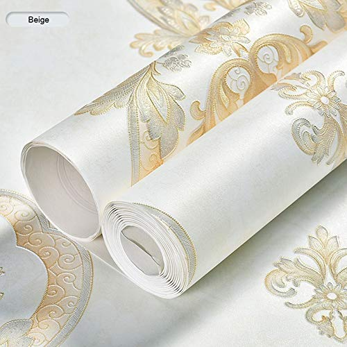 Papel Pared no tejido estilo europeo moderno retro del damasco papel pintado 3D en relieve de papel de pared de fondo Rolls Dormitorio Sala de estar Sofá TV Decoración