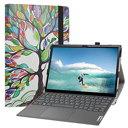 Labanem Funda para Lenovo Yoga Duet 7i, Slim Fit Carcasa de Cuero Sintético con Función de Soporte Folio Case Cover para 13' Lenovo Yoga Duet 7i Tablet - Love Tree