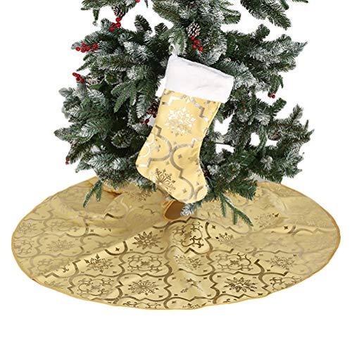Macabolo Christmas Tree Skirt, Snowflake Pattern Xmas Christmas Tree Skirt with Stockings for Holiday Party Decor Ornaments