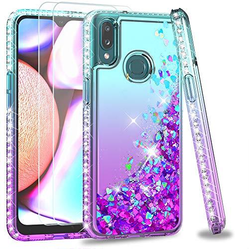 LeYi Funda Samsung Galaxy A10s Silicona Purpurina Carcasa con [2-Unidades Cristal Vidrio Templado], Transparente Cristal Bumper Gel TPU Fundas Case Cover para Movil A10s Verde/Morado