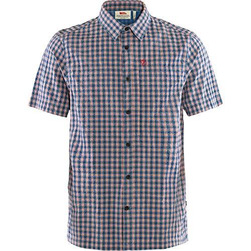 FJALLRAVEN Svante Seersucker Shirt SS M Tricot Homme, Bleu Marine, L