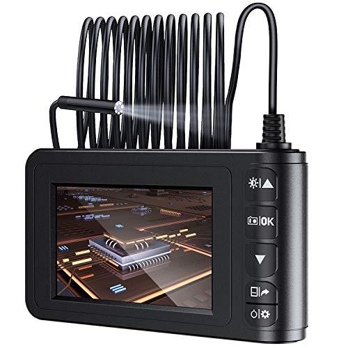 MoKo 5M Endoscopio Industriale Digitale, Telecamera d'Ispezione Ispezione con Schermo a Colori da 4,3', Periscopio Impermeabile Palmare Semirigido 1080P HD con Batteria, Cavvo Impermeabile 6 LED, Nero