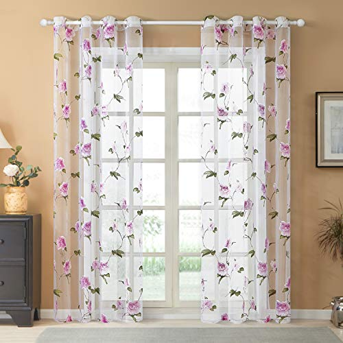 """Top Finel Voile Flower Print Drapes Panels for Kids Room Semi Sheer Drapes for Office, 54"""" W x 84"""" L, Set of 2, Pink Flower"""