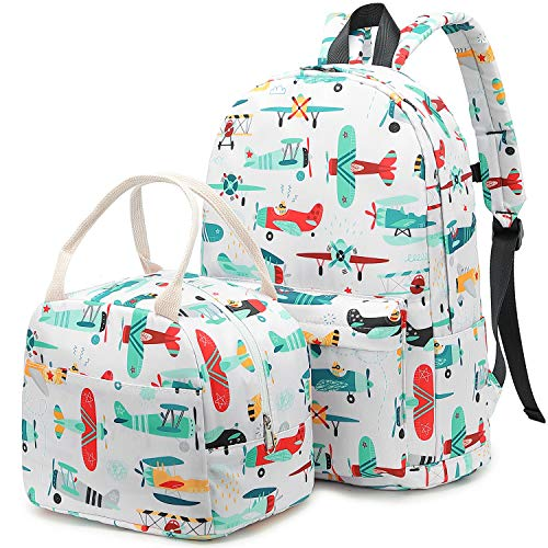 CAMTOP Backpack for Kids, Preschool Backpack with Lunch Box for Boys Girls to Kindergarten Elementary School (Y032-2/White Plane)
