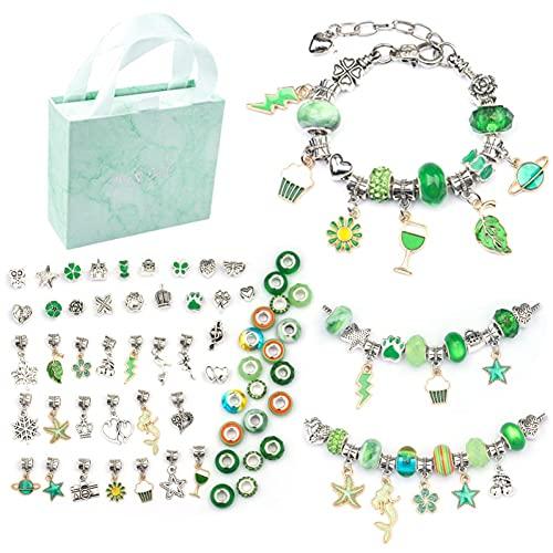 Sisphy Juego de manualidades para niños, con perlas, 3 pulseras y 60 perlas colgantes, regalo de cumpleaños para niñas,