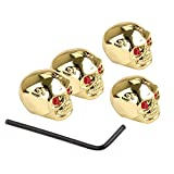 Tzong 4Pcs Gold Skull Knob Electric Guitar Volume Tone Control Knobs Skull Head with Wrench